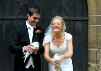 Bride & Groom with doves at Gresford Church & Ruthin Castle wedding