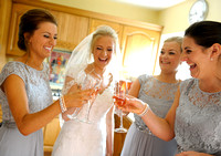 Champagne before leaving for Ruthin Castle wedding