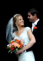 Bride & Groom in church porch at Gresford Church & Ruthin Castle wedding