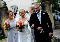 Bride & father arriving at Gresford Church & Ruthin Castle wedding