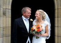 Bride & father before Gresford Church & Ruthin Castle wedding