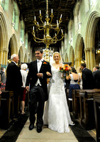 The recessional at Gresford Church & Ruthin Castle wedding