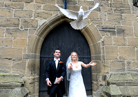 Releasing doves at Gresford Church & Ruthin Castle wedding